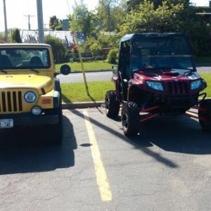 Prowler XTZ 1000 Sitting next to a stock jeep wrangler
